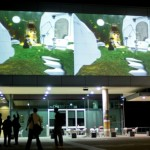 live feed projection of 'terra.mellifera' outside 'the block'