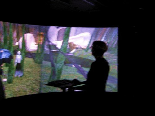 participant at curved screen